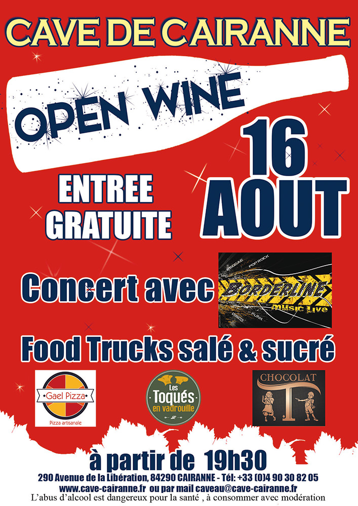 Open wine affiche Aout 2019