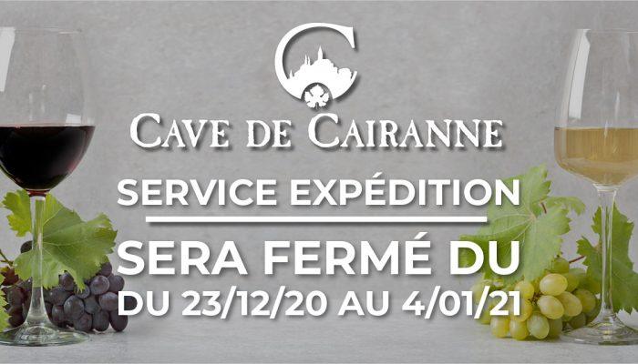 Le service expédition sera fermé du 23/12/20 au 4/01/21